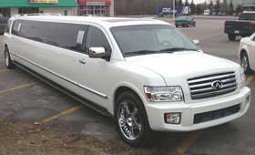 Infinity Stretch White Limousine Limo Service in Delaware County PENNSYLVANIA