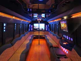 Party Limo Bus Interior Limo Service in Irvine CALIFORNIA